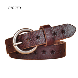 Hot Fashion Women Belt Brand Designer Luxury Full Grain Leather Belt Genuine Leather Cowskin Hollow Out Popular Ladies Belt