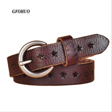 Hot Fashion Vrouwen Riem Merk Designer Luxe Volnerf Lederen Riem Lederen Koeienhuid Hollow Out Populaire Dames Riem(China)