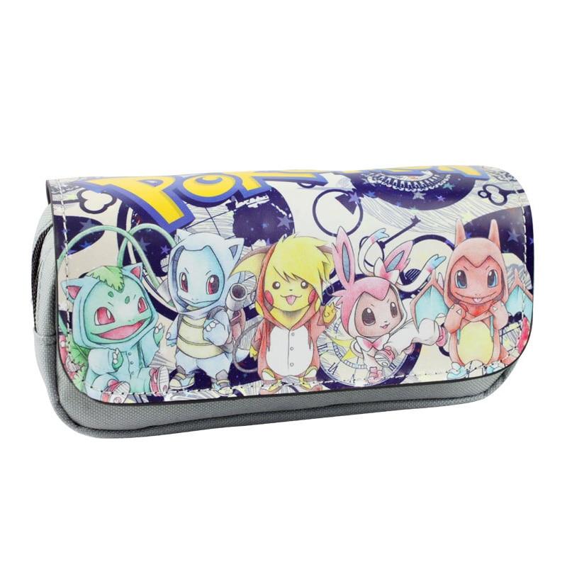 Double Zipper Leather Purse Pokemon Go Pocket Monster Pen Pencil Holder Organizer Bags Cases For Kids Boy Girl Make Up Bag