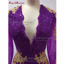 Side Split Gold Applique Mermaid Prom Dress