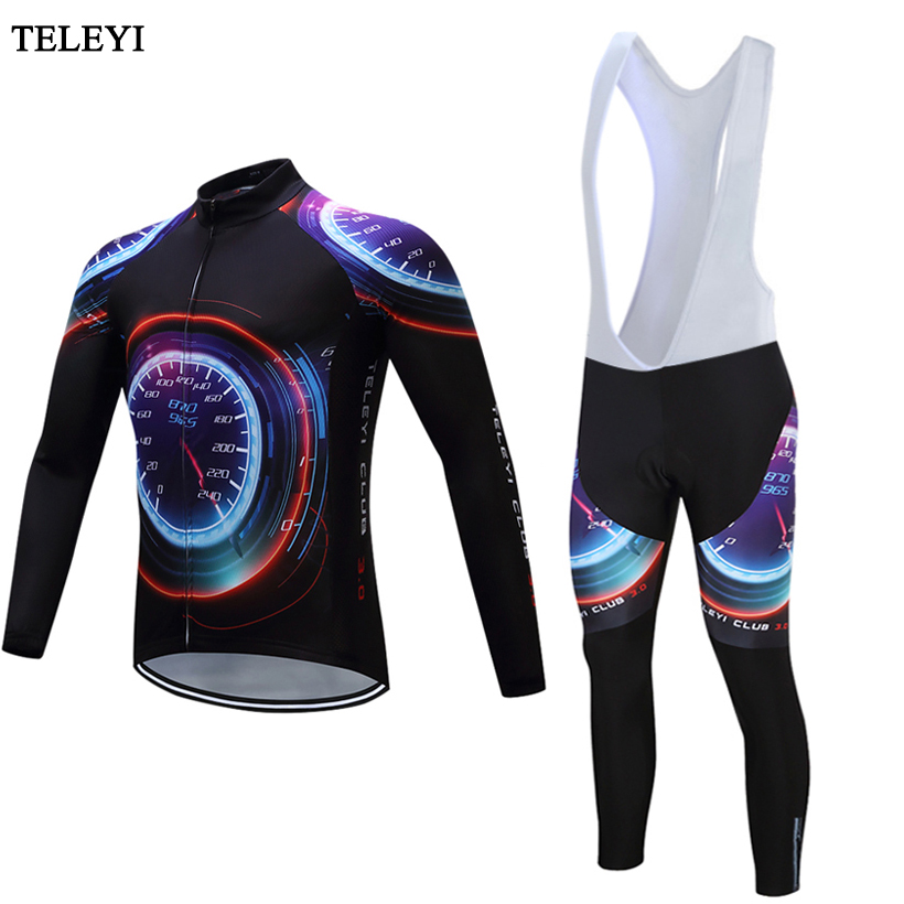 TELEYI Mans Cycling Clothing Suit 2017 Long Sleeve Cycling Jersey Bike Jersey bib pants Cycle Sportswear Quk Dry Riding Clothes