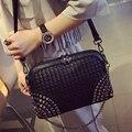 Woven bag luxury designer women bags chain bag rivet crossbody bags famous brand shell sac female small leather handbag shoulder