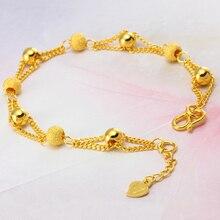 Браслеты и браслеты из чистого золота для женщин, 24k браслет с шариковыми бусинами 16+ 3 см, Модный золотой браслет, Женский/женский браслет