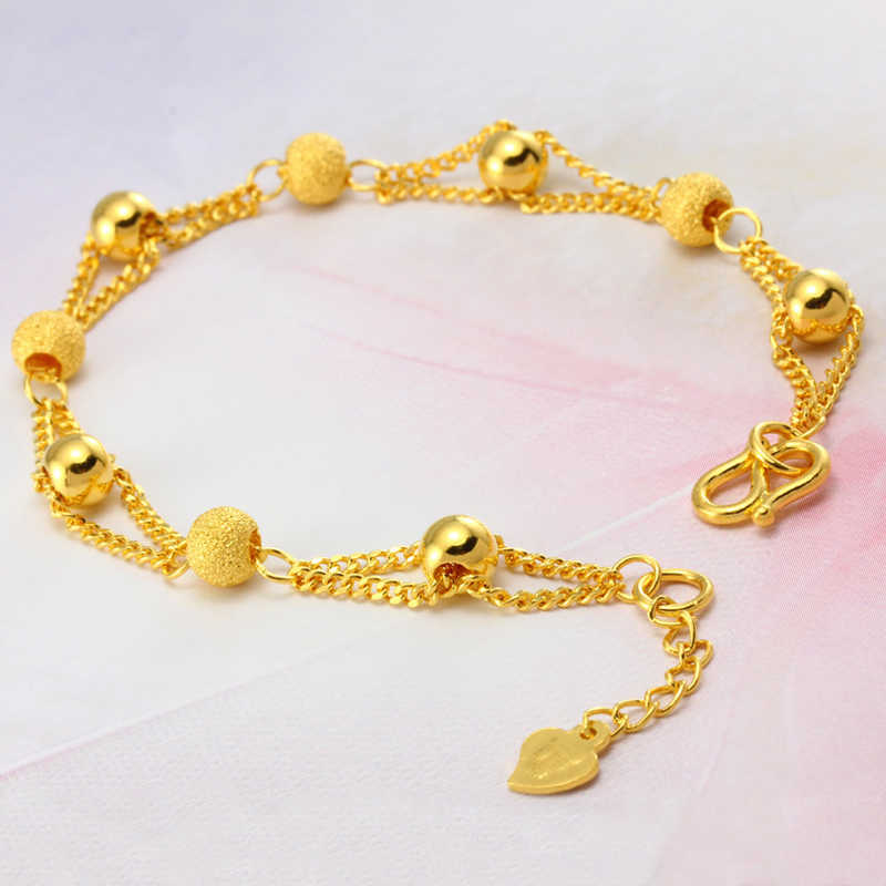 pure gold color bracelets & bangle for women,24k plating ball beads bracelet 16+3cm,fashion gold bracelet,women / girls bracelet