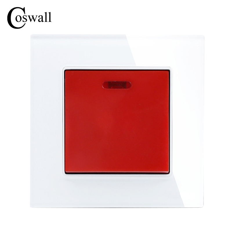 COSWALL 45A Switch With Neon Crystal Glass Panel Kitchen Water Heater Push Button Wall Switch Air Condition Interruptor mini interruptor switch button mkydt1 1p 3m power push button switch foot control switch push button switch