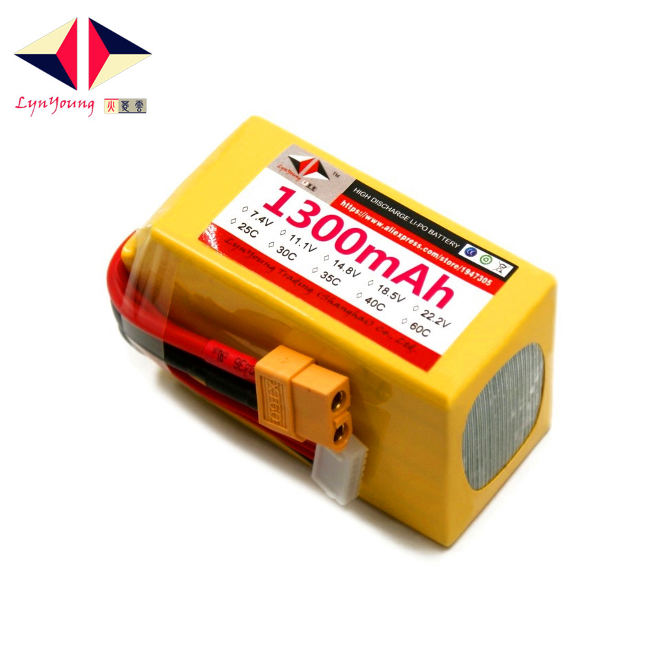 LYNYOUNG 6S 1300mAh 22.2V 25C Lipo battery for RC 6 Axis Drone Helicopter Boats Rechargeable Glider Quadcopter Boats Car Truck