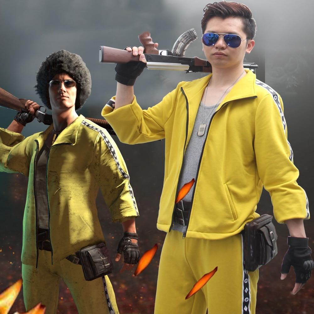 Campos de Batalha das Playerunknown PUBG Sportswear Ternos do revestimento do revestimento + calças Casaco Traje Cosplay Amarelo