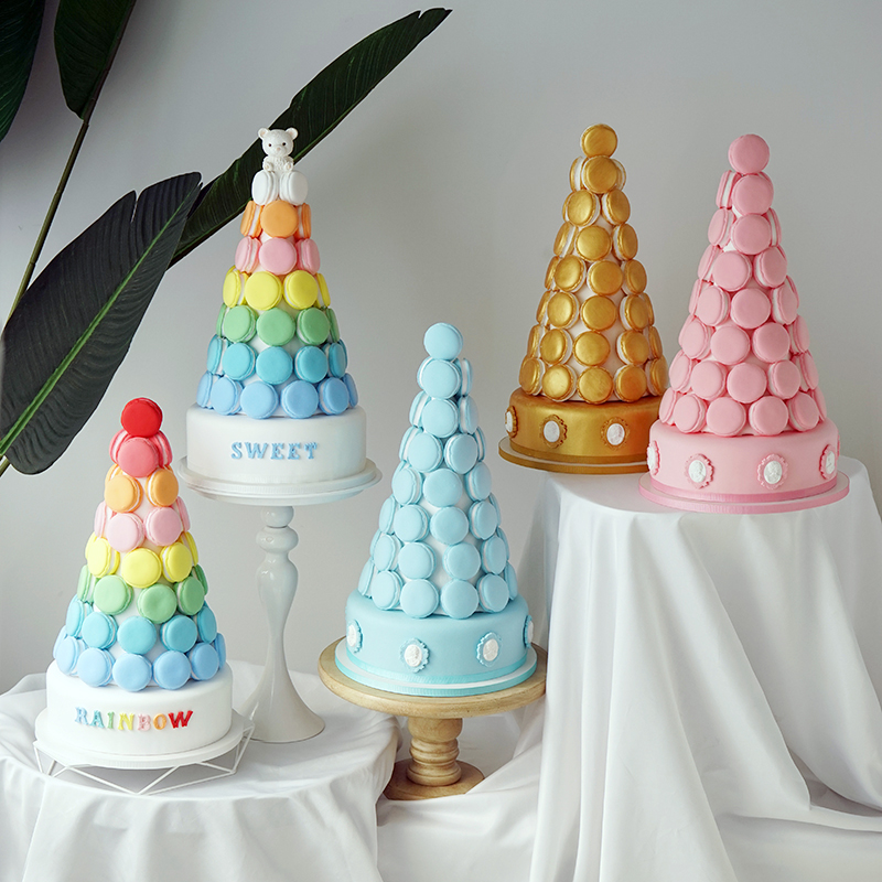 Simulation Macarons tour Simulation gâteau fenêtre décoration arc-en-ciel multicolore faux gâteau modèle doré gâteau