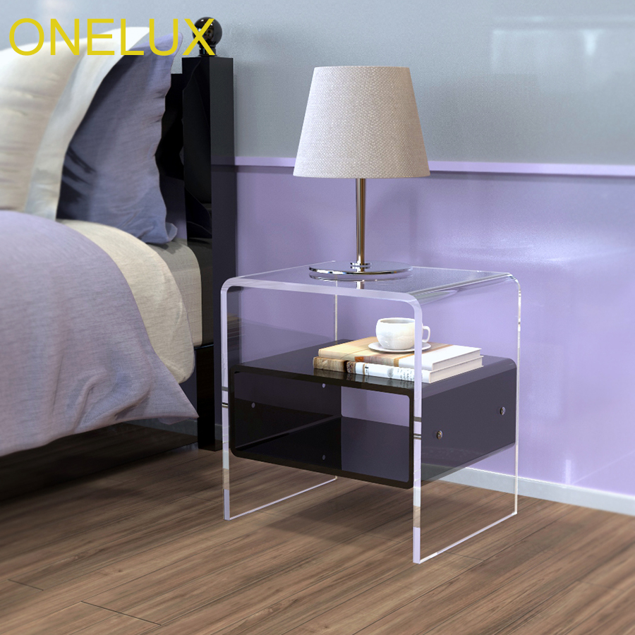 Waterfall Acrylic Nightstand With Additional Shelf,Lucite Bedside Tables one lux plain and elegant clear transparent plexiglass acrylic bedside table with shelf 40w 30d 45h cm lucite nightstand