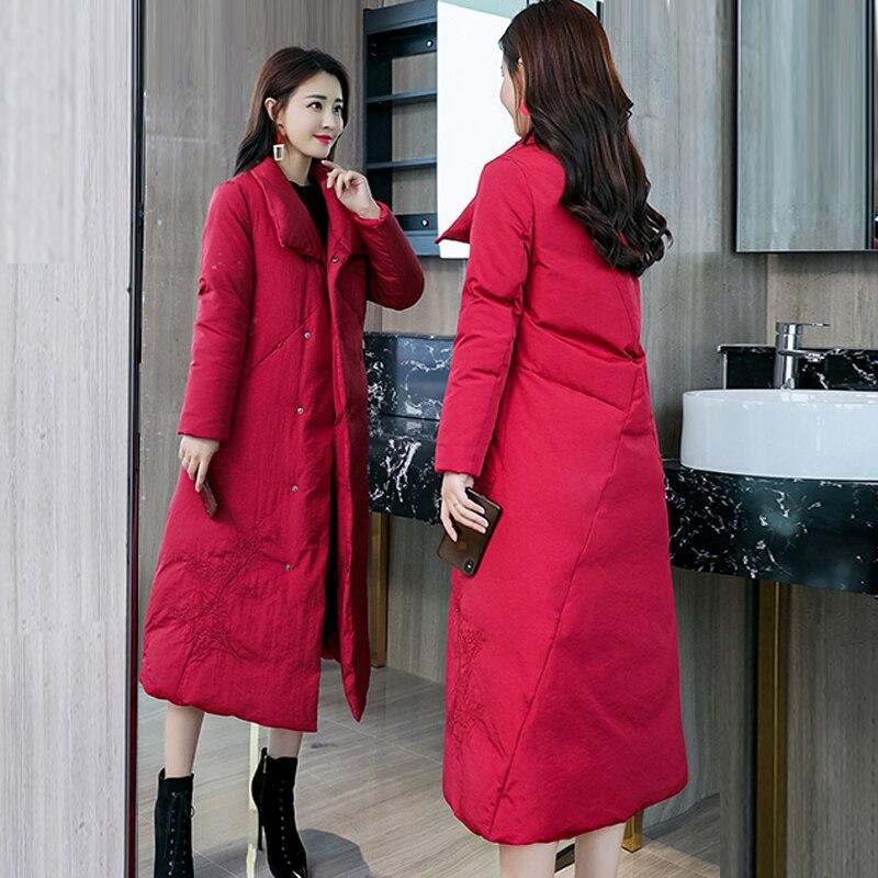 Élégant gris Rembourré 2018 3xl Longue Femmes Manteau Outwear Mode Veste Parkas D'hiver Coton Épaissir rouge En Chaud Noir Automne Hiver De rYrwHx6