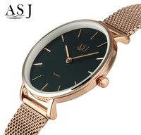 ASJ Ultra Thin 4mm Rose Gold Mesh Steel Luxury Bracelet Watch Women Fashion Top Brand Lady Simple Quartz Watch Relogio Feminino
