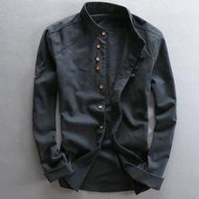 Men's Cotton Linen Shirts Long Sleeve Casual Slim Mandarin Collar Shirts High Quality Men Business Cotton Dress Shirts TS-187