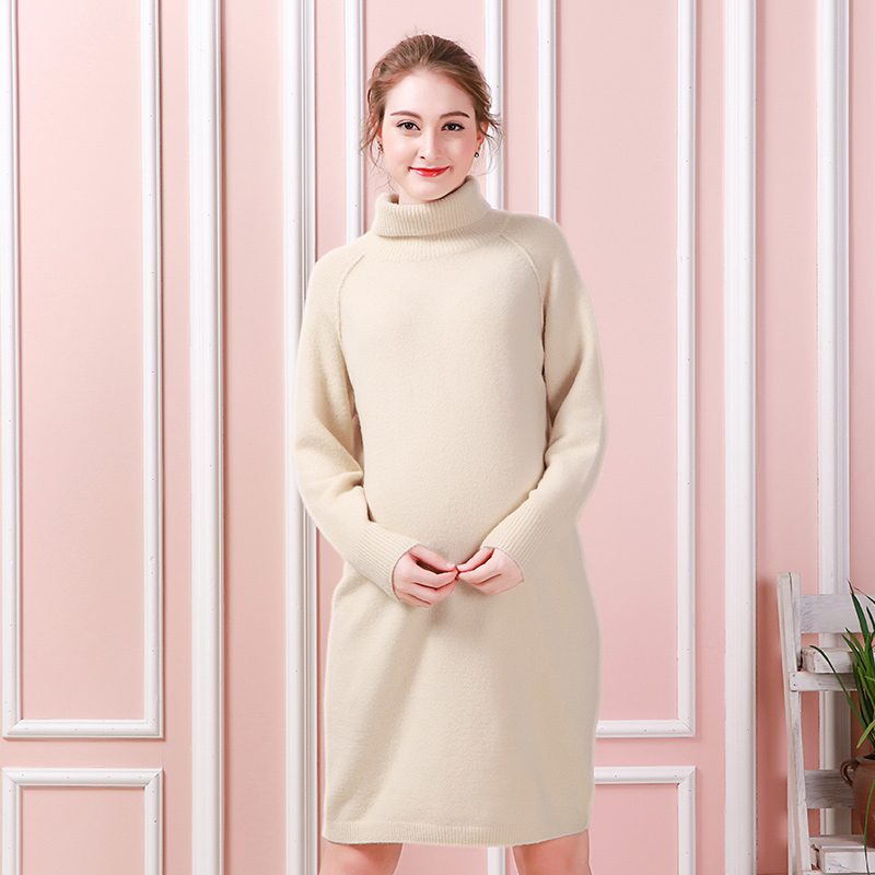 MOKO MOM/Autumn fashion women sweaters long sweater sweater dress V collar maternity dress