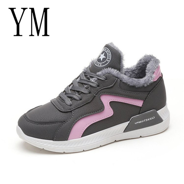 2018 женская повседневная обувь, модная женская обувь на шнуровке, повседневная обувь на плоской подошве серого цвета, зимние кроссовки, женская обувь на платформе