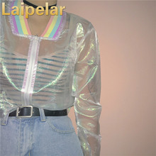 цена на Laipelar Harajuku Summer Women Jacket Laser Rainbow Symphony Hologram Women Coat Iridescent Transparent Bomber Jacket Sunproof