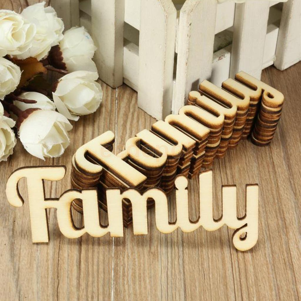 10 Pieces Natural Family Wooden Craft Cut Wooden Pieces Card Making DIY ...