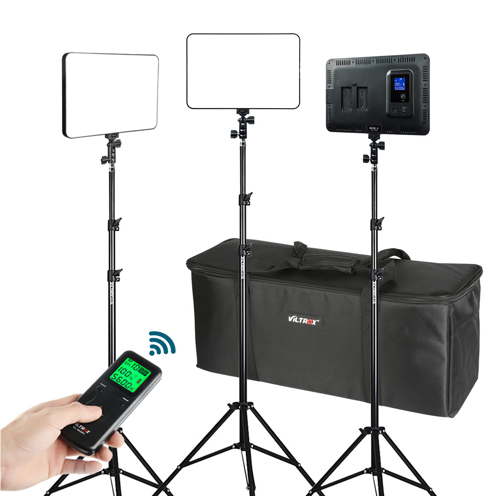 VILTROX 3/2pcs VL-400T 40W LED Video Light Bi-color Dimmable Wireless remote Lighting Kit+75 Light Stand for studio shootingVILTROX 3/2pcs VL-400T 40W LED Video Light Bi-color Dimmable Wireless remote Lighting Kit+75 Light Stand for studio shooting