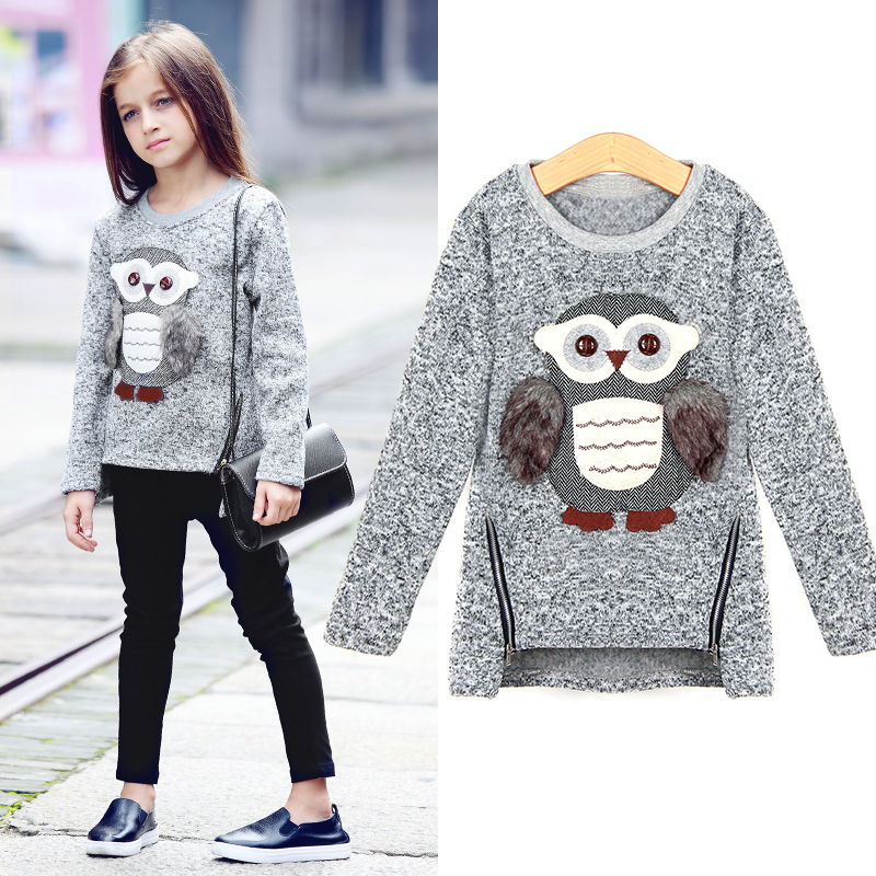 Dziewczęce sweter z podszewką z napisem Fleece Cartoon Cute Sowa Casual Cotton Girls Winter Clothes dziewczęce swetry na 6 7 8 9 10 12 14 lat