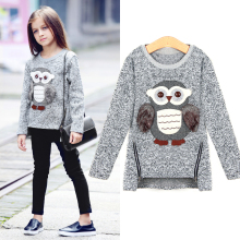 Girls Fleece Lined Zipper sweater Cartoon Cute Owl Casual Cotton Girls Winter Clothes girls sweater for 6 7 8 9 10 12 14  years