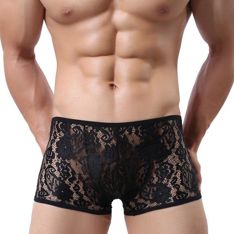 Sexy Mens Underwear Lace Transparent Boxers Male Calzoncillos Cuecas Shorts Boxer Hombre Openwork Breathable Underpants