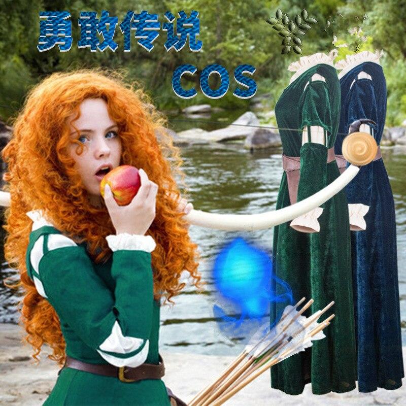 Brave Mérida vestidos cosplay princesa Mérida Cosplay disfraz Halloween Disfraces señora dibujos animados Anime vestido uniforme Merida peluca