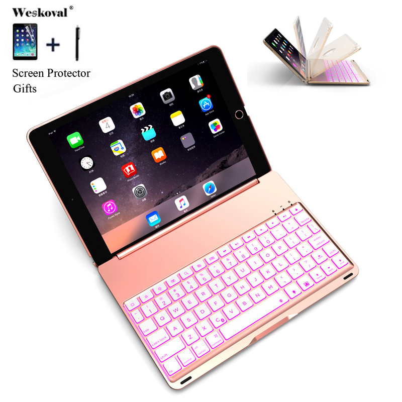 Keyboard For iPad 2018 A1893 Colorful Backlight Wireless Bluetooth Keyboard Case Cover For iPad 9.7 2017 Aluminum Alloy Fundas