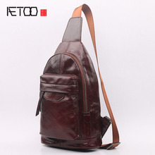 AETOO The new fashion trend of men 's chest bag retro leisure first layer of leather shoulder diagonal package