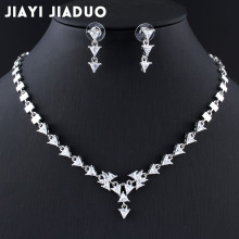 jiayijiaduo Wedding jewelry sets Necklace earring set for Women AAA zircon Silver color Charm of evening dress accessories