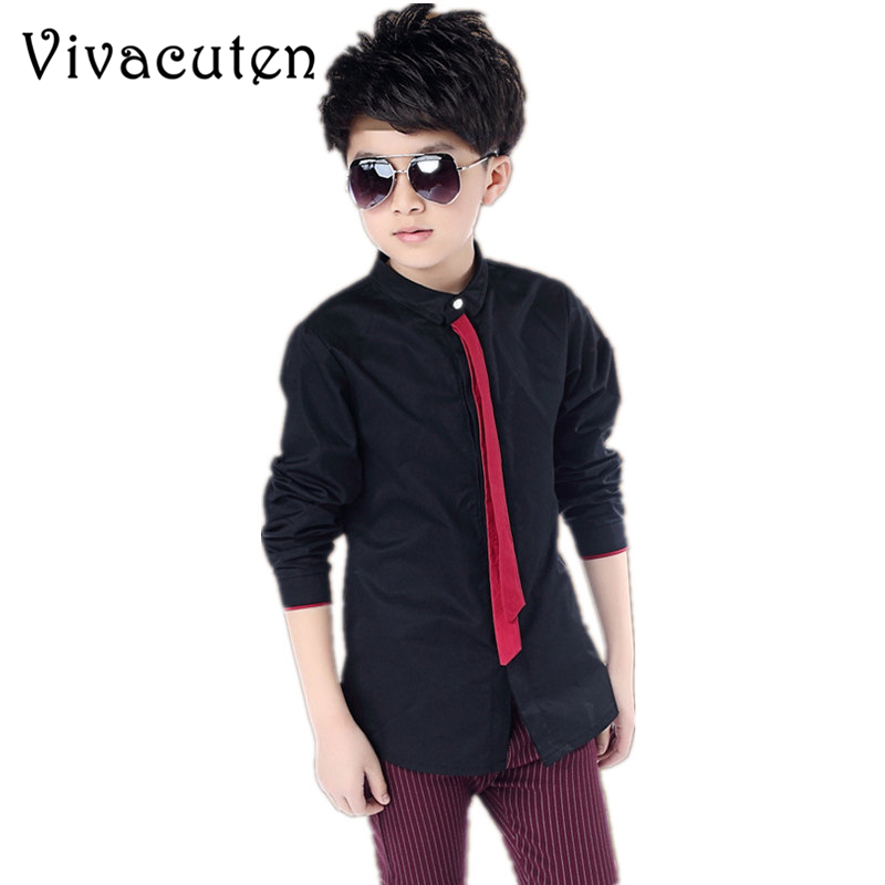 New Big Boys Wedding   Shirts   with Necktie Teenage Boys Formal Black White Red Formal   Shirts   Children School   Blouses   Tops Clothes