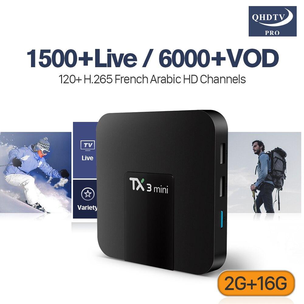 Francese Abbonamento Iptv TX3 MINI TV Box Astuto di Android 7.1 2g 16g S905W Ricevitore TV QHDTV PRO Conto IPTV Europa Francese Arabo