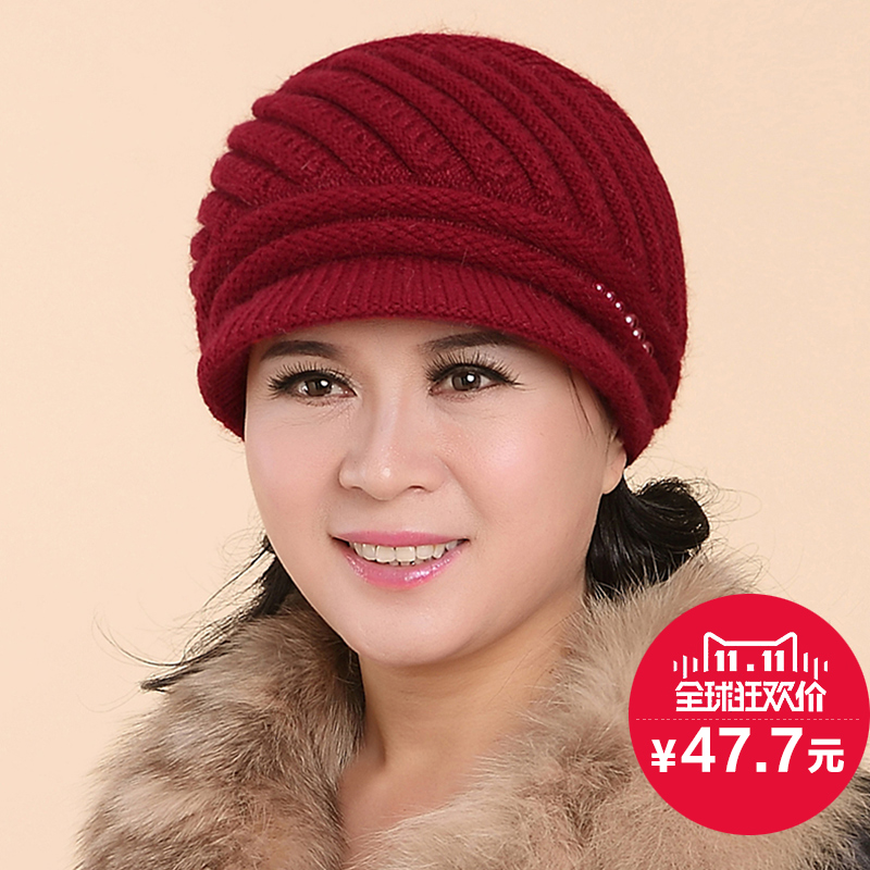 db54f245092 Dome Wool Winter Bucket Hat For Old Women Outdoor Windproof Warm Female Sun  Hat With Real Mink Fur ...