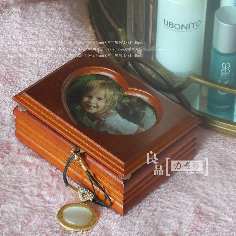 Exquisite heart shaped frame wood jewelry storage box upscale jewelry box wedding ring box birthday gift