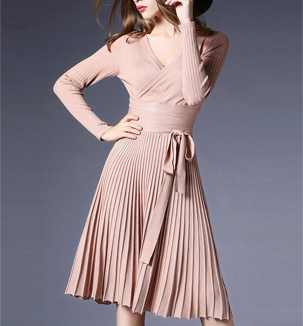 824a61712e 2019 Spring Sexy V-Neck Solid Pleated Knitted Skater Dress Women  Knee-length Long