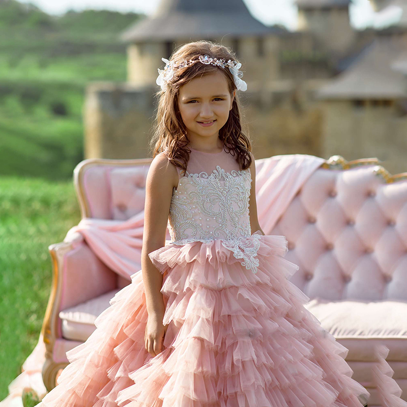 d3f7399fc458 Long Trailing Pink Layered Flower Girl Dress For Wedding Tulle Lace  Appliques Kids Ball Gown 2019. sku: 32973165244