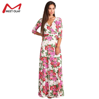Vintage Women Winter Dress Fashion Floral Lady Waist Length Sleeve V-Neck  Sexy Dress Ankle 1ef66bd21875