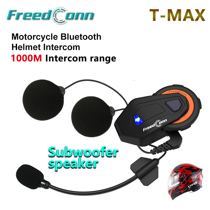 Freedconn T-MAX 6 Coureurs Intercom Moto Casque Intercom BT Casque 1000 m Bluetooth Moto casco Inter téléphone Version 4.1