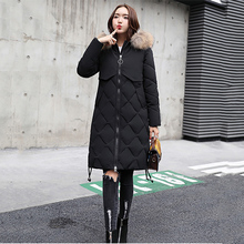 2019 winter long section cotton women's new large size over the knee Korean version of the thick down cotton clothing A310