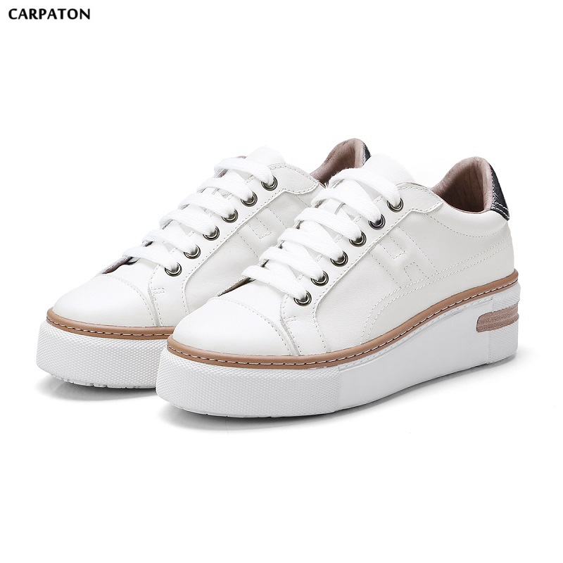 Carpaton 2018 New Comfortable PU Leather Thick Bottom Casual Shoes Classic Flat Round Toe Lace-tied Women White Shoes cheap hot women shoes 2018 summer women flat white shoes comfortable breathable super soft pu leather lace ladies casual shoes