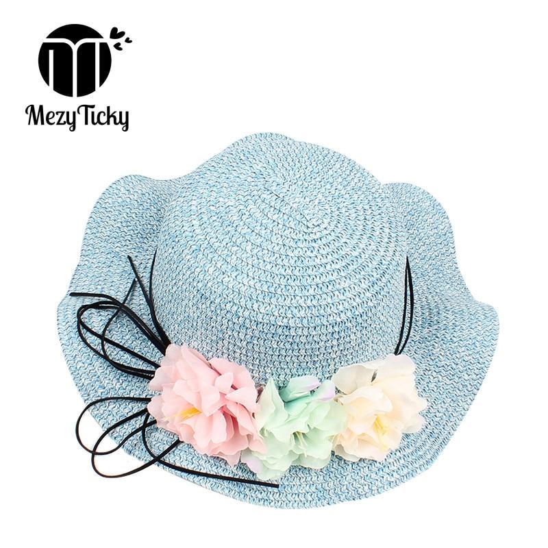 Apparel Accessories Cute Kids Summer Crochet Straw Beach Sun Hat With Flowers Girl's Hats