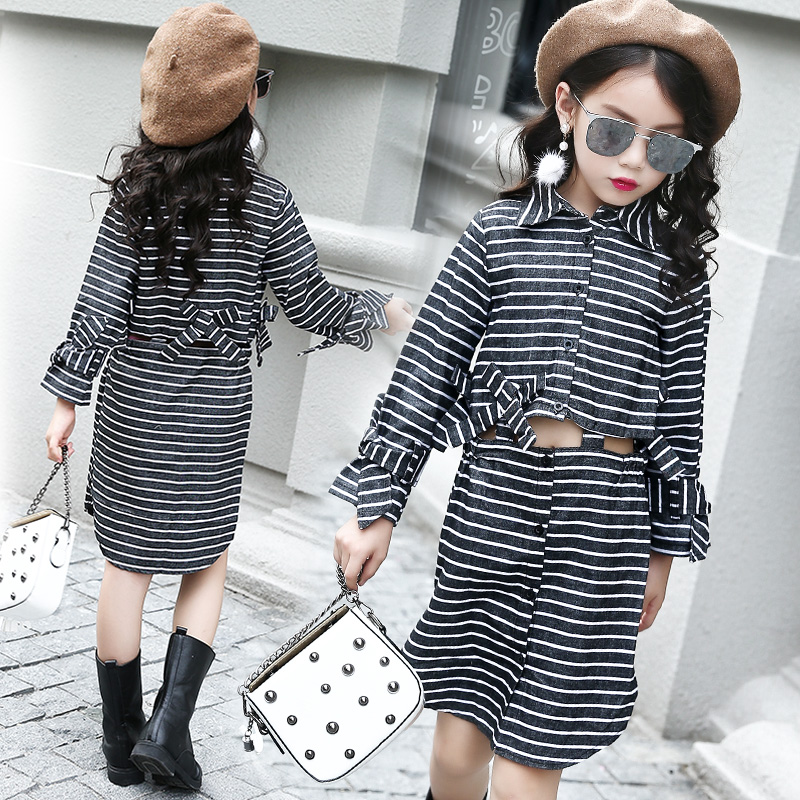 Stripes Patterns Teenage Girls Clothing Sets Spring Autumn 2018 New Girls Long Sleeve Blouse Top & Skirt Set 2 pcs Girls Clothes stripes patterns teenage girls clothing