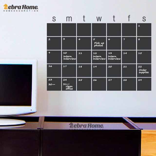 DIY Calendar Chalkboard Month Planner Whiteboard Wall Stickers Modern  Blackboard Murals Wallpaper Home Decor