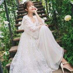 Халат Женское платье Элегантное ночное белье белая кружевная ночная рубашка длинное платье Дамское свадебное платье вечернее платье