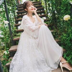 Image 1 - Robe Women Dress Elegant Sleepwear White Lace Nightgown Long Dress Ladies Wedding Dress Party Dress