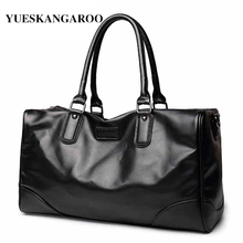 YUES KANGAROO New Fashion Leather Men's Large Capacity Travel Bags Waterproof Vintage Hand Luggage Casual Shoulder Bag Bolso