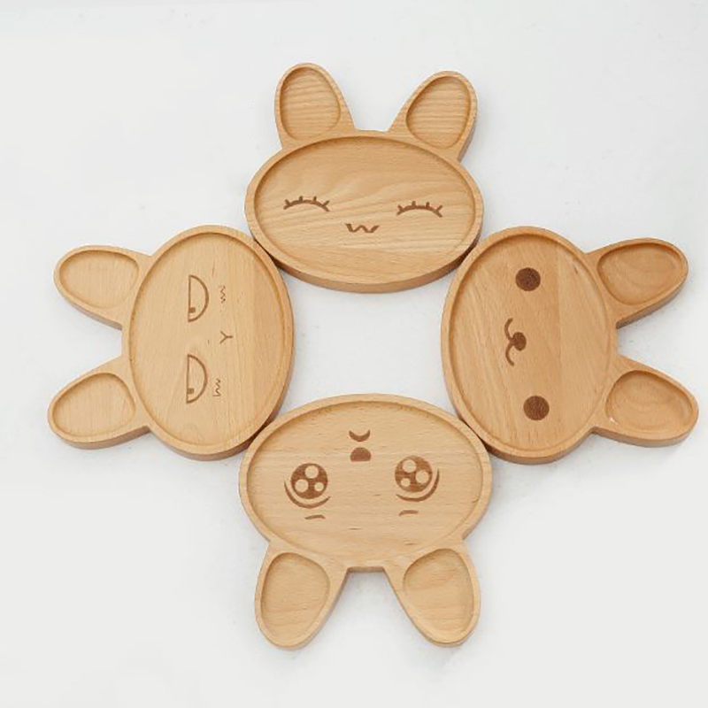 1Pcs Baby Cute Bunny Wood Dinner Plate Child Feeding Plates Dinnerware  Kids Cartoon Pattern Foods Fruit Dish Tray Solid Feeding