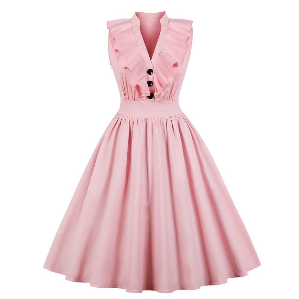 Women Elegant Plus Size Dress Ruffle V Neck Pink Blue ...