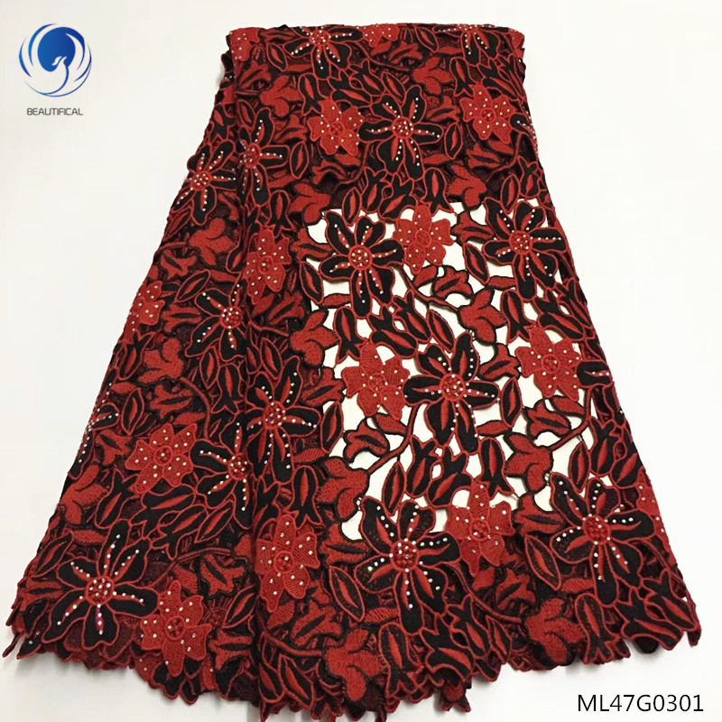 BEAUTIFICAL guipure laces fabrics 2019 cord lace dress with stones african water soluble lace fabric 5yards/lot ML47G03BEAUTIFICAL guipure laces fabrics 2019 cord lace dress with stones african water soluble lace fabric 5yards/lot ML47G03