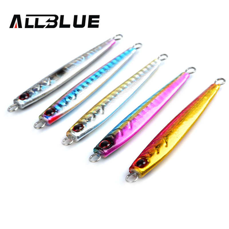 Allblue high quality metal jigging spoon spoon 26g 3d for Fishing with jigs
