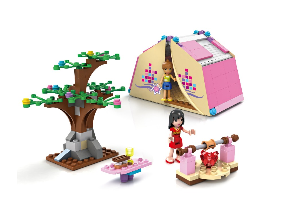 COGO City Dream Girl Wild Camping Building Blocks Sets Bricks Model Kids Gifts Toys Compatible Legoe Friends