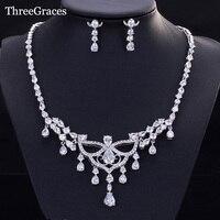 ThreeGraces Top Quality Women Wedding Accessories Luxury CZ Stone Tassel Water Drop Necklace Earrings Bridal Jewelry